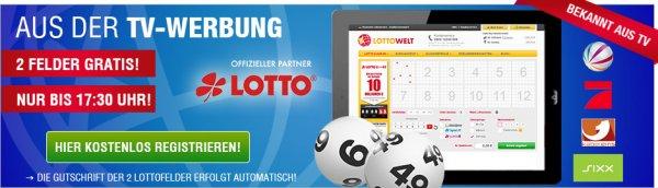2 Gratisfelder bis 17:30 Uhr @ lottowelt.de