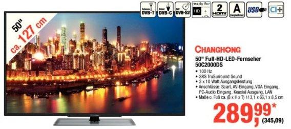 "[Metro] 50"" Full HD LED TV Changhong 50C2000DS"