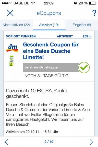 Gratis Balea Duschgel bei dm dank Payback e-coupon