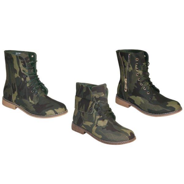 Damen Boots Stiefelette Stiefel Schnürboots camouflage 3 Modelle Gr.36-41 @ebay Wochen WOW