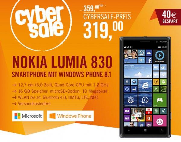 Nokia Lumia 830 schwarz im Cybersale @cyberport