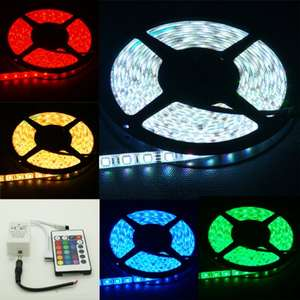 5M RGB 5050 LED Strip Waterproof + 24KEY IR Remote Controller