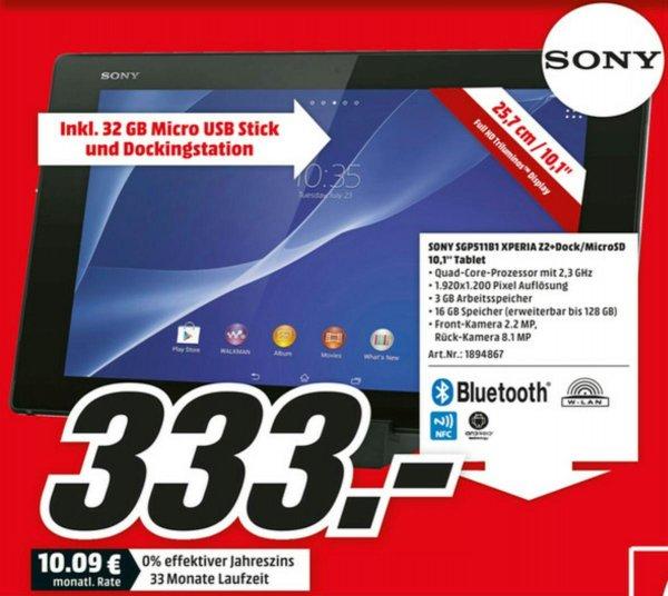 SONY Xperia Tablet Z2 Wifi 16GB (SGP511B1) + Dockingstation und 32GB Micro USB Stick (Media Markt Berlin)