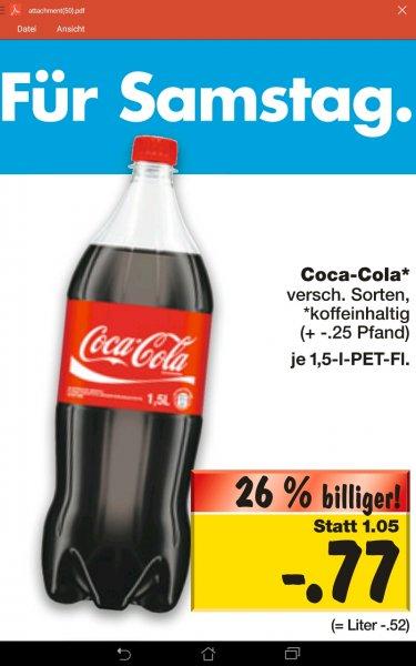 [Kaufland bundesweit] KW44: 1,5l Coca Cola für 77ct am Super-Weekend