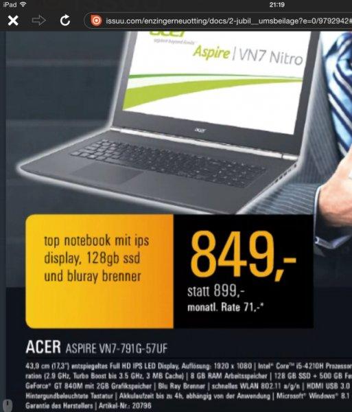 (Lokal Elektro Enzinger) Acer Aspire VN7-791G-57uf
