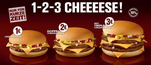 Single-, Double- und Triple-Cheeseburger für 1 bis 3 € bei McDonalds