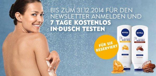 Nivea IN-Dusch 7 Tage kostenlos testen oder 0,50€ Gutschein