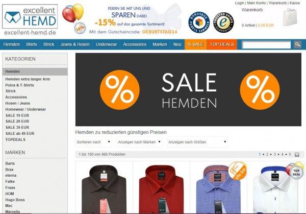 Stark reduzierte Hemden Olymp, eterna, BOSS, etc. bei excellent-hemd.de (durch Gutscheinrabatt nochmals 15% günstiger)