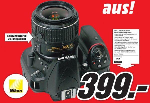 [Lokal PLZ 9xxxx - siehe Auflistung] Spiegelreflexkamera Nikon D3300 Kit 18-55 mm VR II für 399€ bei MediaMarkt
