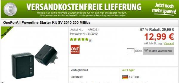 OneForAll Powerline Starter Kit SV 2010 200 MBit/s @ Voelkner