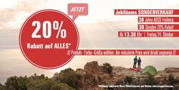 20% auf Alles bei ADCO- und OUTDOORSHOP (Outdoor Ausrüster) Online und Lokal Freiburg