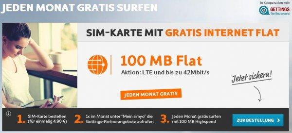 """""""Kostenlose"""" Datenflat von simyo im e-plus Netz (einmalig 4,90€ mit Haken)"""