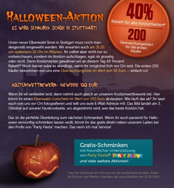 Halloween-Aktion in Stuttgart: 40 %, 200 Geschenke + Kostümwettbewerb am 31.10 im Stuttgarter Elbenwald Store im Milaneo