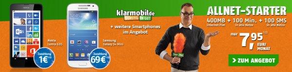 [Handytick] Klarmobil Allnet Starter mit Handy 5 inklusive Top Smartphones (z.B. Samsung Galaxy S4 Mini) für 269,75€