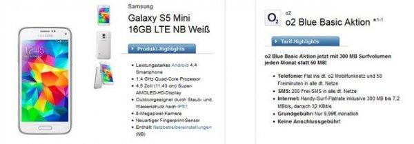 o2 Blue Basic für 9,99€ monatlich – 300MB, 50 Minuten, 200 SMS – inkl. Galaxy S5 mini für 59€ Zuzahlung – mehrere Smartphones verfügbar