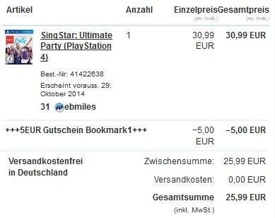 [PS4] Singstar: Ultimate Party für nur 25,99 € (Amazon-Preis: 34,99 €)