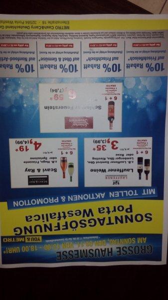 Metro Porta Westfalica verkaufsoffenen am 02.11. mit 10% Rabatt auf bestimmte Artikelgruppen