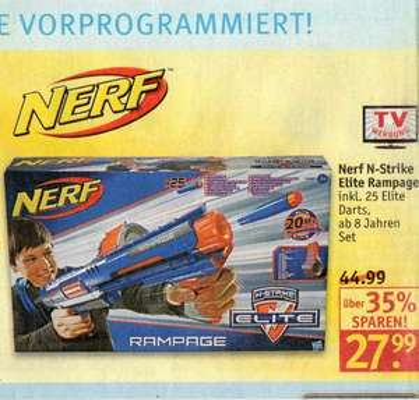 ROSSMANN lokal* NERF N-Strike Elite Rampage 27,99 € / mit Coupon 25,20 €