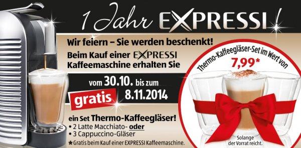 Beim Kauf einer Expressi-Kaffeemaschine von Aldi erhalten Sie vom 30.10. - 8.11.2014 ein Set Thermo-Kaffeegläser gratis!