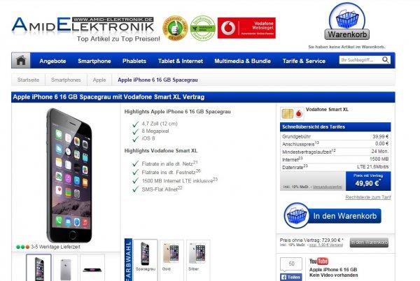 iPhone 6 16 GB einmalig 49,90€ / 64 GB 144,90€ + Vodafone Smart XL Allnet Flat / 1,5 GB bei 21,6 Mbit/s LTE / SMS Flat für 39,99€ Monatl. / auch für Junge Leute!