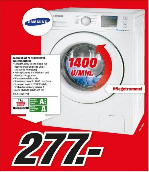 [LOKAL Berlin] Samsung 70F5E0R4W Waschmaschine, A+++, 7kg, 1400U/min für 277€ @ Mediamarkt Berlin