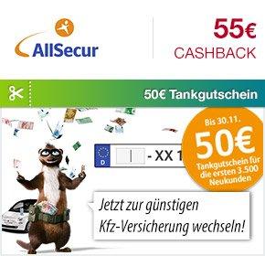 [Qipu] AllSecur: 55€ Cashback + 50€ Tankgutschein für KfZ-Versicherungs-Wechsel