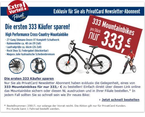 Cross-Country-Mountain-Bike für 333,- statt 500,- Euro (Shimano Deore XT Komplett-Schaltwerk; hydraulische Scheibenbremsen; Rock Shox Tora SL Federgabel u.s.w.) @Tchibo