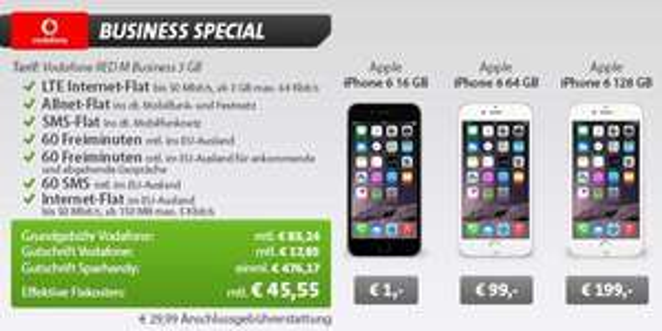 Vodafone Red M Business - Allnet-Flat, SMS-Flat, 3GB Daten (50Mbit/s), EU-Datenflat, EU-Freiminuten und iPhone 6 für 45,55€ pro Monat @Sparhandy