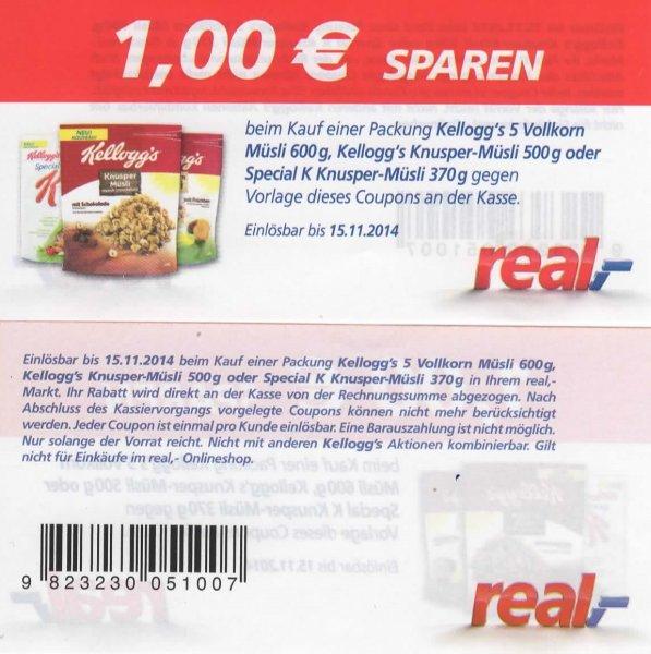 real: Kellogg´s Müsli verschieden Sorten für 1,59€ (regulär 2,99€ - 1,00€ Sofortrabattcoupon - 20% Rabatt )