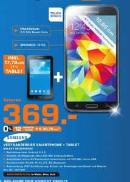 [Lokal] Samsung Galaxy S5 +Samsung Tablet für 369,-€ @Saturn Ingolstadt ab 29.10