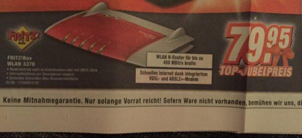Fritzbox 3370 79,95 bei Expert Gifhorn - 33€ billiger gegenüber (Idioalo 112,95)