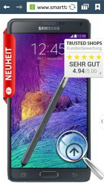 Galaxy Note 4 + Vodafone Smart XL mit 1.5 GB LTE (21,6 MBits), allnet Flat, SMS Flat (3000 SMS)