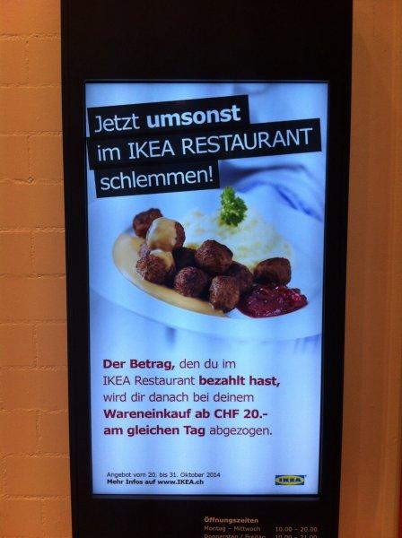 LOKAL IKEA PRATTELN (SCHWEIZ) GRATIS ESSEN BEI EINKAUF AB 20 CHF