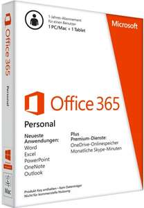 MS Office 365 Personal 1-PC/Mac Tablet 1-Jahr Lizenzkey incl. unbegrenzt OneDrive