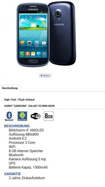 Schweiz: Samsung Galaxy S3 Mini 99CHF oder 82€