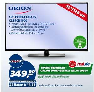 Orion CLB50B1000 126 cm (50 Zoll) Full HD LCD-TV, LED-Back­light, 200 Hz, DVB-T/-C Emp­fän­ger, CI+, USB, Ener­gie­klasse A+  ab 331€