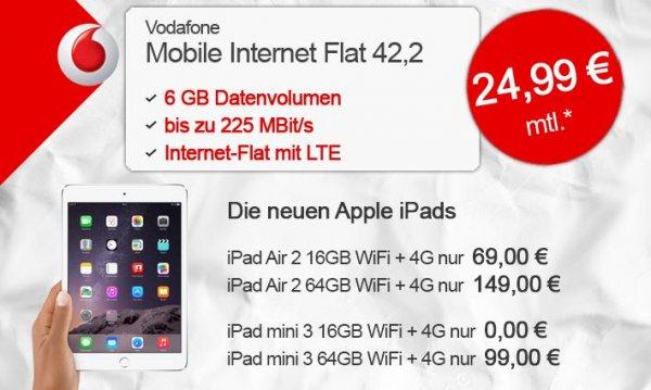 talkthisway: Apple iPad Air 2 Cellular + Vodafone Mobile Internet Flat LTE mit 6GB für 24,99€ Mtl.. iPad Air 2 16GB 69€ o. 64GB 149€ einmalige Zuzahlung