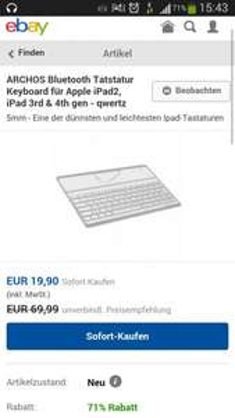 Archos Bluetooth Tastatur Keyboard für Apple iPad2, iPad 3rd & 4th gen - qwertz