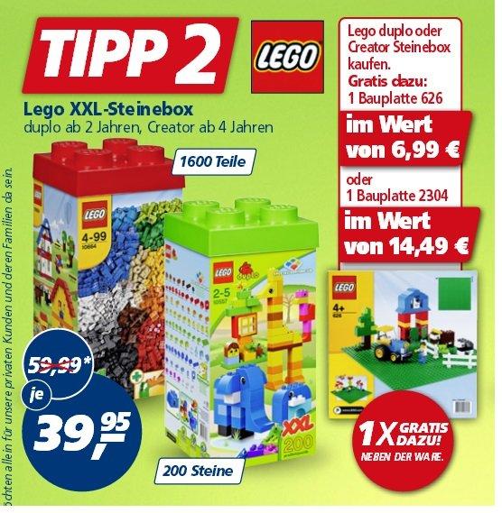 [Real]  Lego duplo oder Creator Steinebox kaufen. Gratis dazu: 1 Bauplatte 626 oder 2304  39,95€