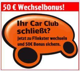 Flinkster: Kostenfreie Anmeldung und 50 € Fahrtguthaben - für Sixti Car Club Kunden (nur Berlin)