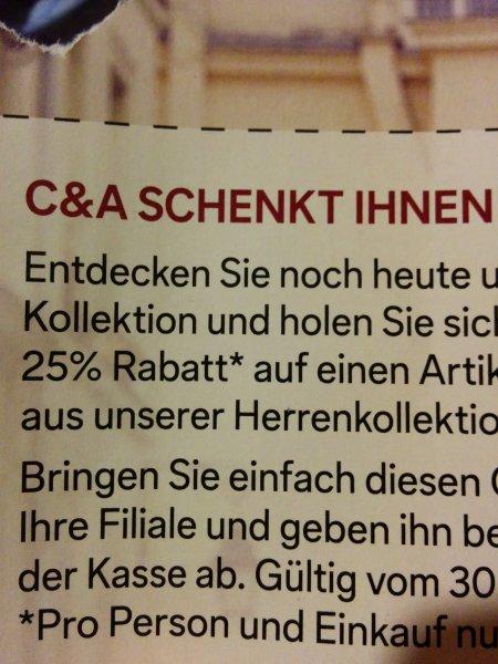 C&A cunda 25% Herrenmode 1 Artikel Spiegel [offline]
