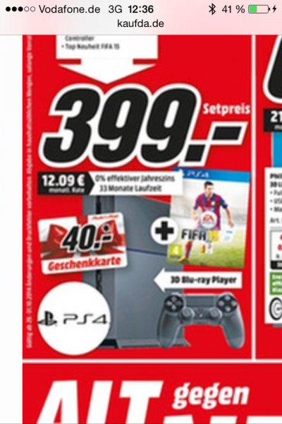 [Media Markt Trier]Playstation 4 + 2. Controller + Fifa 15