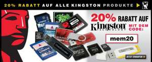 20% auf alle Kingston Produkte
