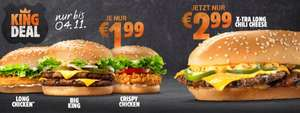 Burger King Coupon: Long Chicken , Crispy Chicken &  Big King je 1,99€ Xtra long chili cheese 2,99€
