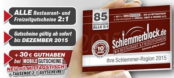 Schlemmerblock 2015 für 10,45 € und Paybackpunkte