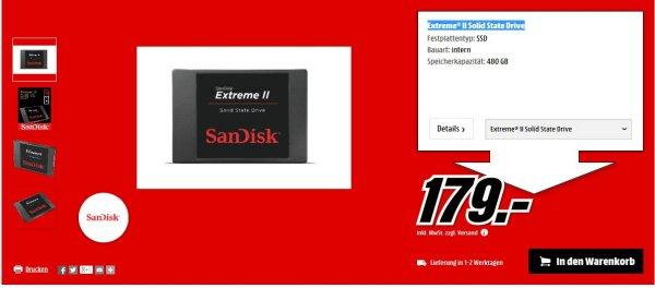 Sandisk Extreme II 480GB SSD  für 179,-@Mediamarkt
