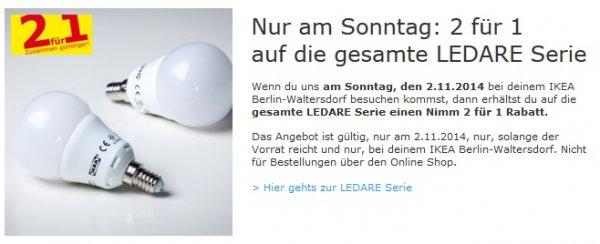 [IKEA Waltersdorf] 2x Ledare E27 LED Lampe 400lm für 3,99 Euro mit Family Card am 02.11.2014