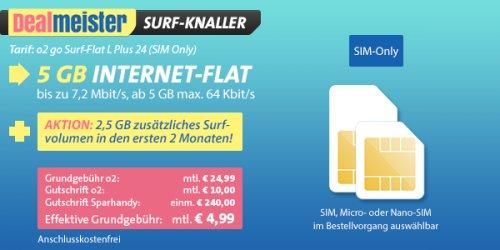 o2 Internetflat: 5 GByte Datenvolumen für nur 4,99 Euro im Monat! (effektive Kosten)