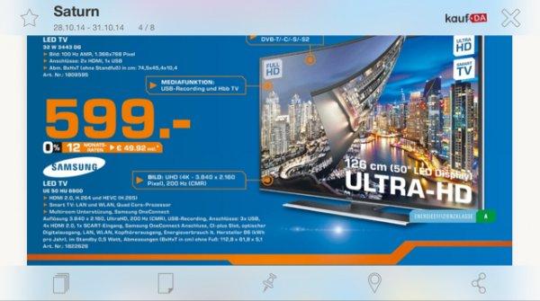 [nur lokal?] Samsung UE50HU6900 4k TV im Saturn Köln Hansaring