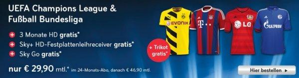 Sky bundesweit Sky Bundesliga + Champions League + Trikot - fast 50% Rabatt